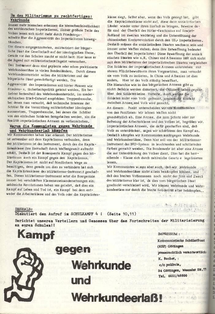 Schulkampf _ Organ der KSF, Göttingen, Extra, Wehrkundeunterricht [1973], Seite 2