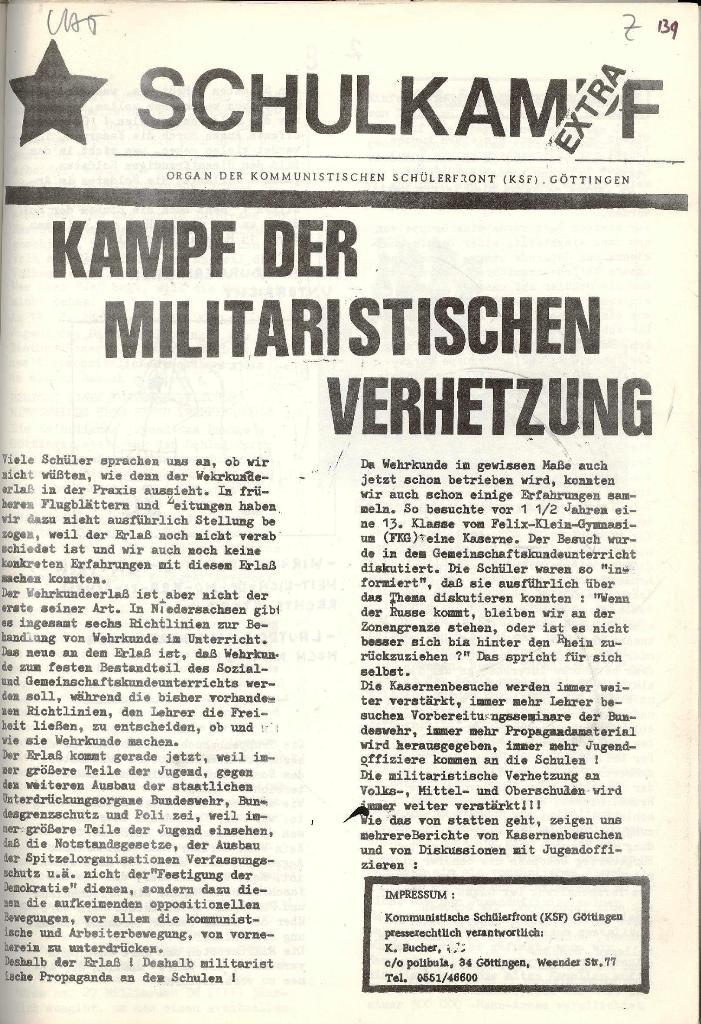 Schulkampf _ Organ der KSF, Göttingen, Extra zur militärischen Verhetzung [1973], Seite 1