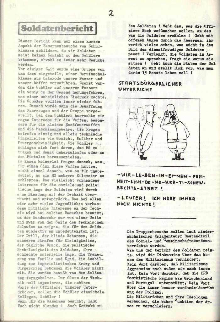 Schulkampf _ Organ der KSF, Göttingen, Extra zur militärischen Verhetzung [1973], Seite 2