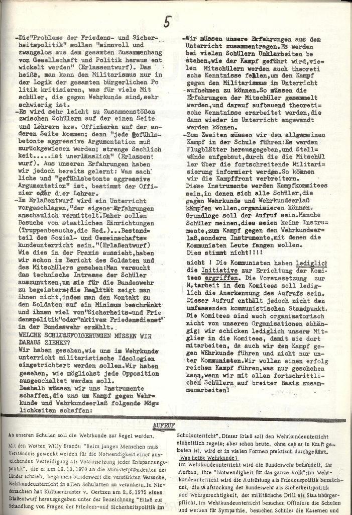 Schulkampf _ Organ der KSF, Göttingen, Extra zur militärischen Verhetzung [1973], Seite 5