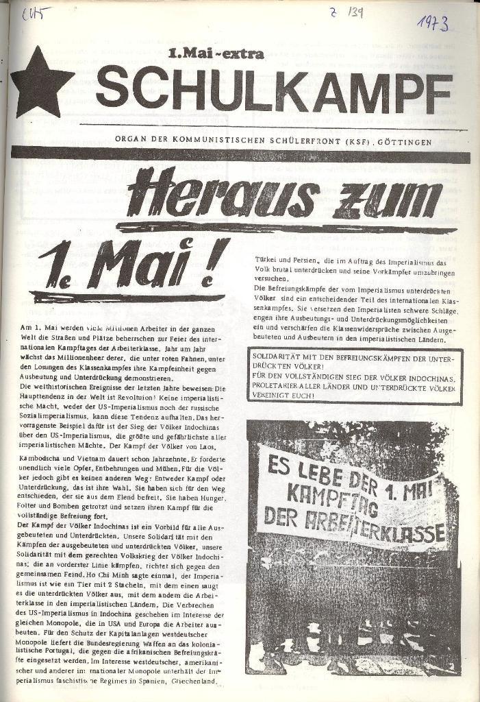 Schulkampf _ Organ der KSF, Göttingen, Extra zum 1. Mai [1973], Seite 1