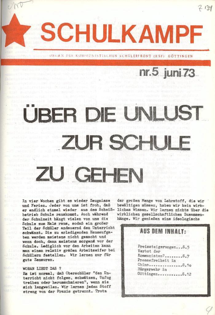 Schulkampf _ Organ der KSF, Göttingen, Nr. 5, 1973, Seite 1