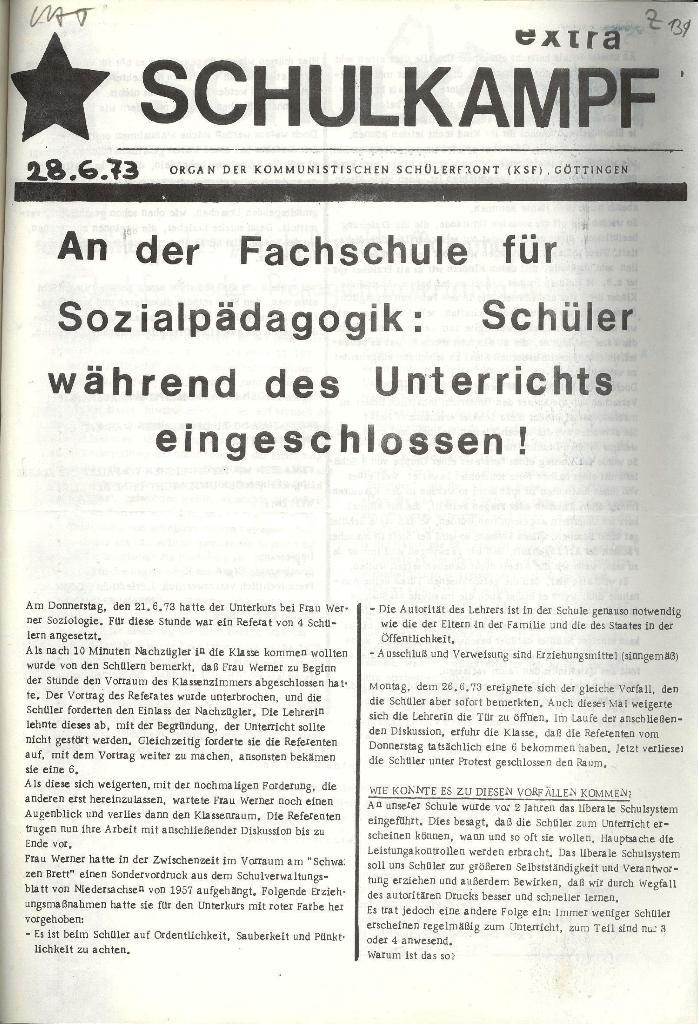 Schulkampf _ Organ der KSF, Göttingen, Extra vom 28.6.73, Seite 1
