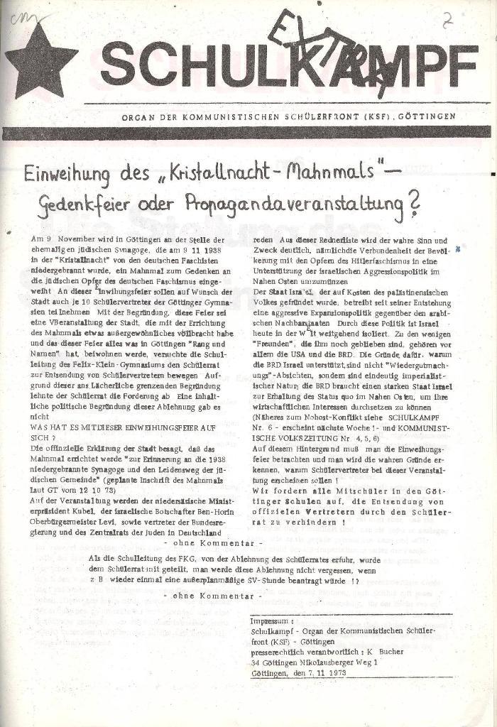 Schulkampf _ Organ der KSF, Göttingen, Extra zum Kristallnachtmahnmal, 7.11.73