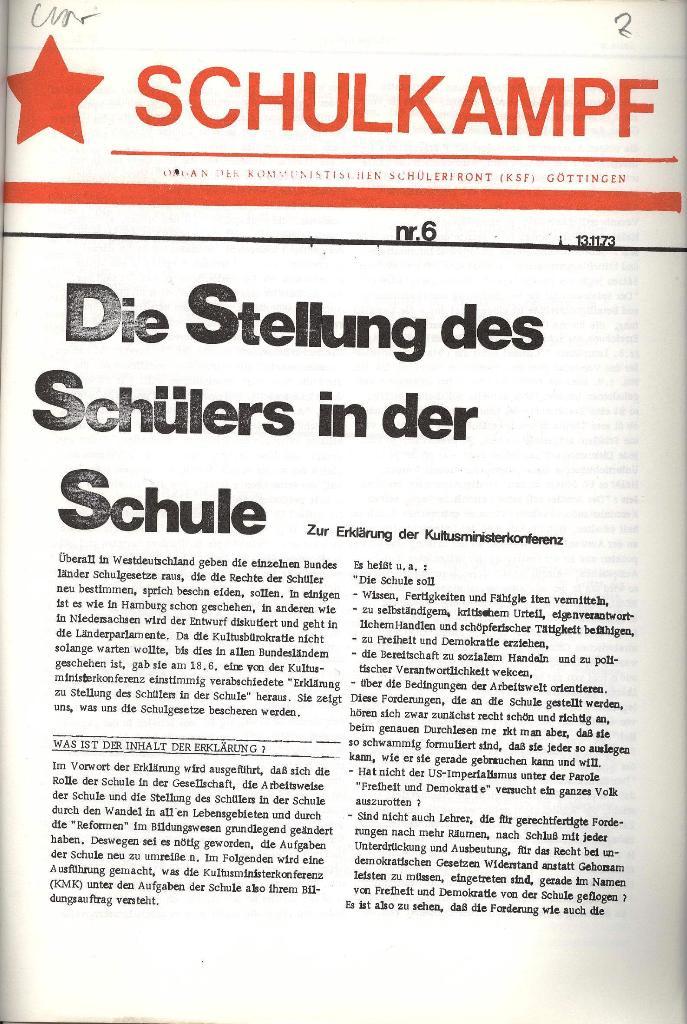 Schulkampf _ Organ der KSF, Göttingen, Nr. 6, 13.11.1973, Seite 1
