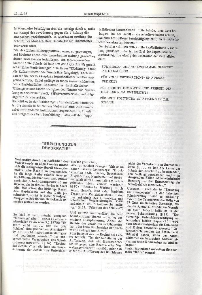 Schulkampf _ Organ der KSF, Göttingen, Nr. 6, 13.11.1973, Seite 3