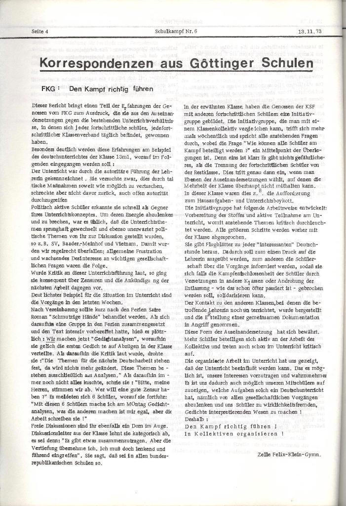 Schulkampf _ Organ der KSF, Göttingen, Nr. 6, 13.11.1973, Seite 4