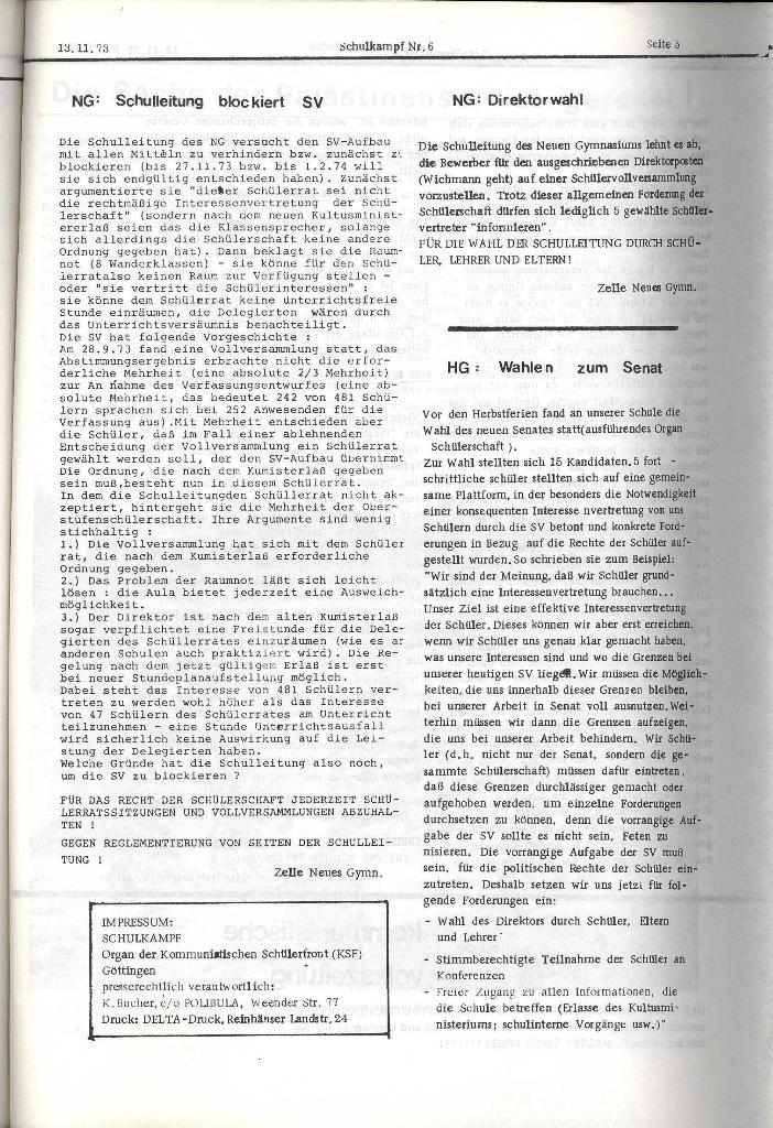 Schulkampf _ Organ der KSF, Göttingen, Nr. 6, 13.11.1973, Seite 5