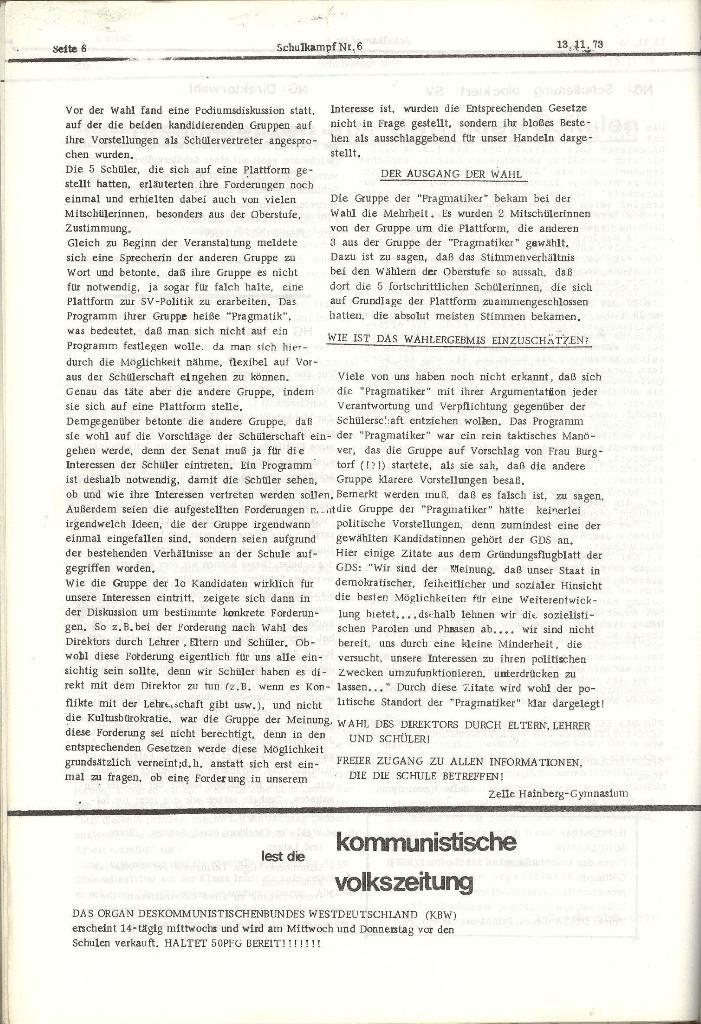 Schulkampf _ Organ der KSF, Göttingen, Nr. 6, 13.11.1973, Seite 6