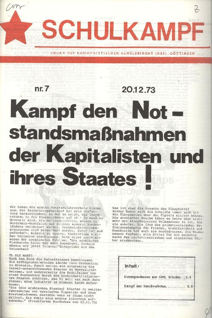 Schulkampf _ Organ der KSF, Göttingen, Nr. 7, 20.12.1973, Seite 1