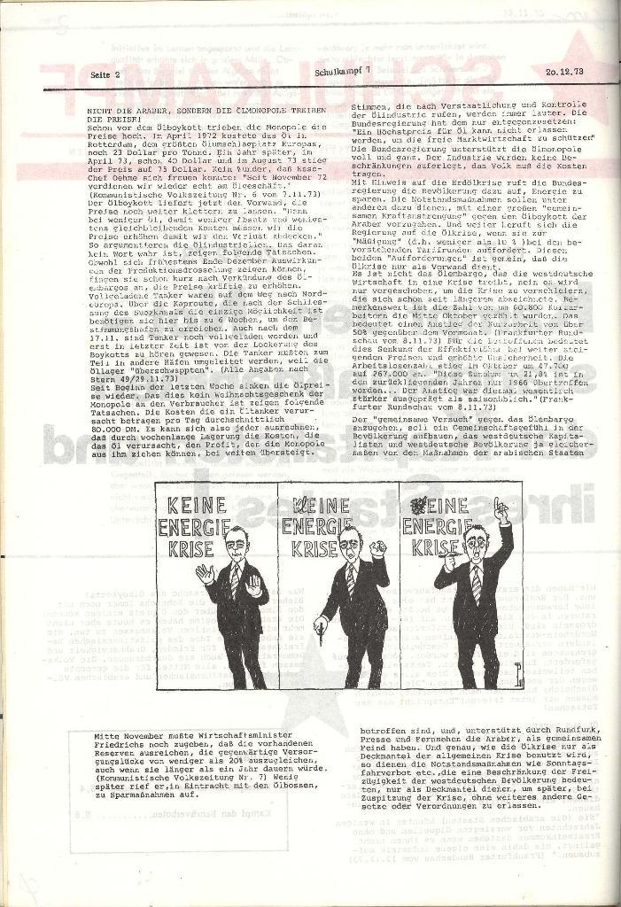 Schulkampf _ Organ der KSF, Göttingen, Nr. 7, 20.12.1973, Seite 2