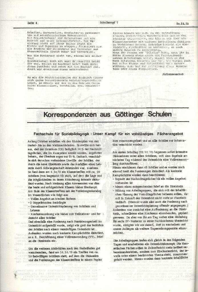 Schulkampf _ Organ der KSF, Göttingen, Nr. 7, 20.12.1973, Seite 4