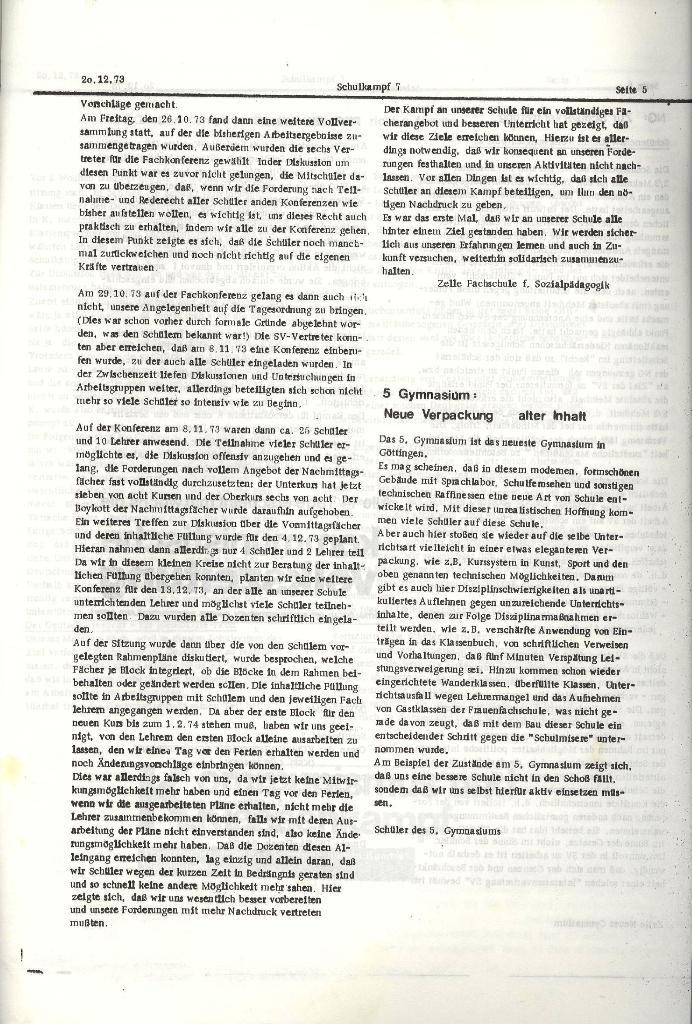 Schulkampf _ Organ der KSF, Göttingen, Nr. 7, 20.12.1973, Seite 5