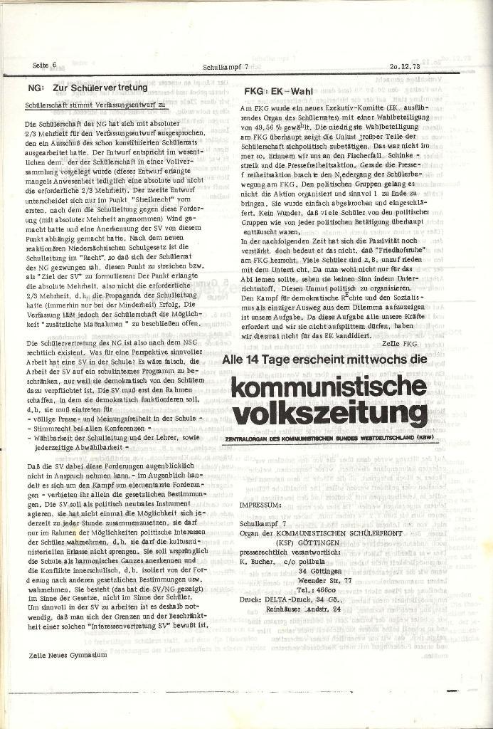 Schulkampf _ Organ der KSF, Göttingen, Nr. 7, 20.12.1973, Seite 6