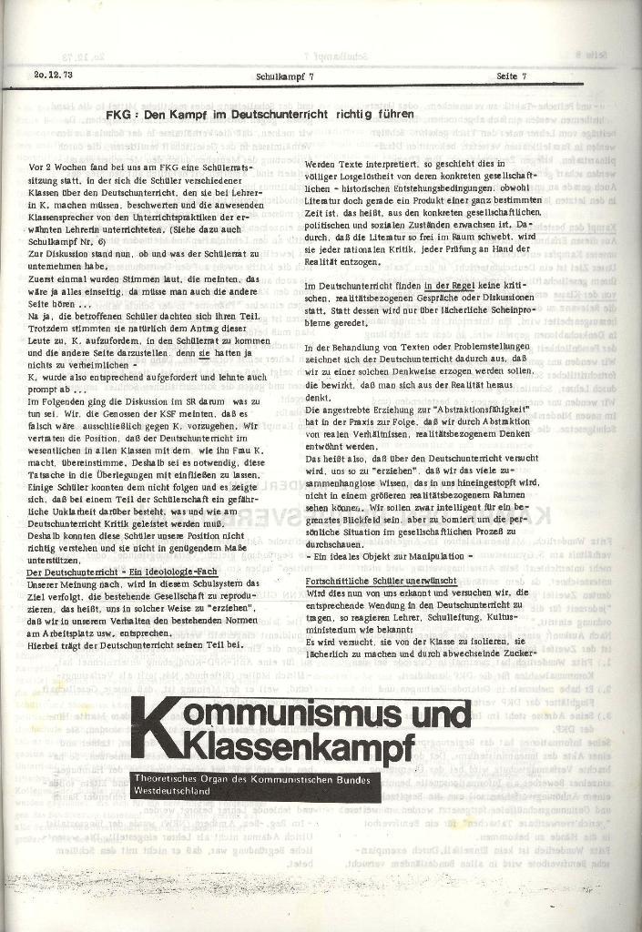 Schulkampf _ Organ der KSF, Göttingen, Nr. 7, 20.12.1973, Seite 7