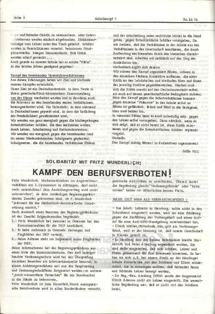 Schulkampf _ Organ der KSF, Göttingen, Nr. 7, 20.12.1973, Seite 8