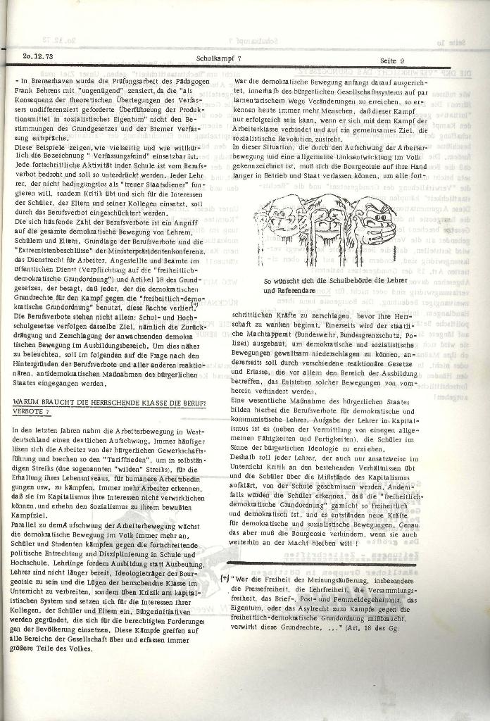Schulkampf _ Organ der KSF, Göttingen, Nr. 7, 20.12.1973, Seite 9