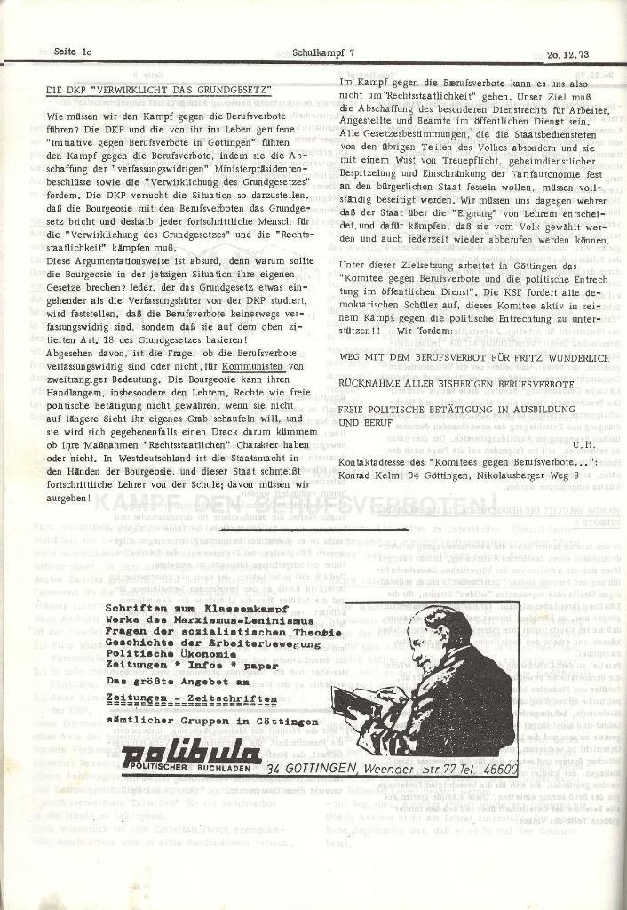 Schulkampf _ Organ der KSF, Göttingen, Nr. 7, 20.12.1973, Seite 10