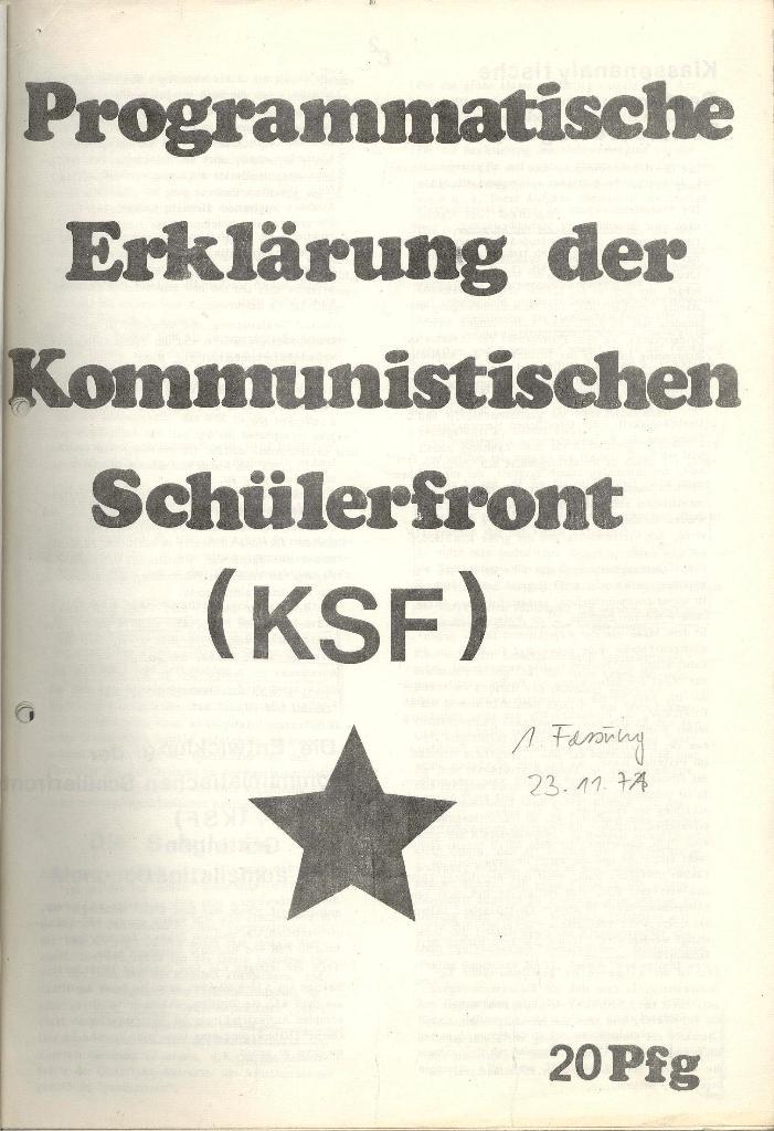 Programmatische Erklärung der KSF,Göttingen, 23.11.1971, Seite 1