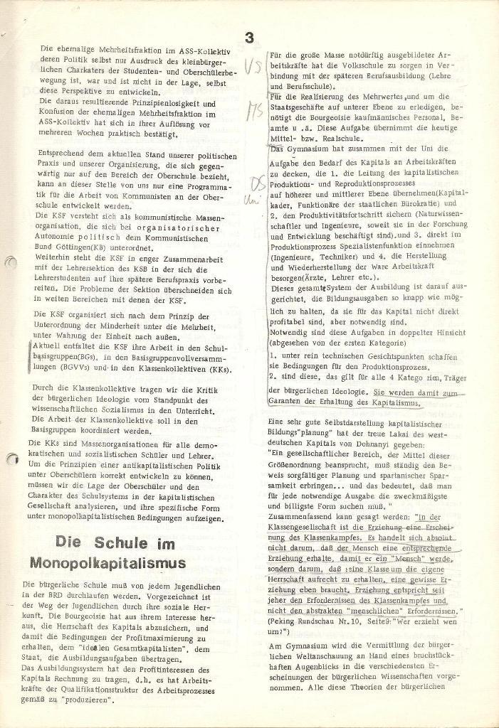 Programmatische Erklärung der KSF,Göttingen, 23.11.1971, Seite 3