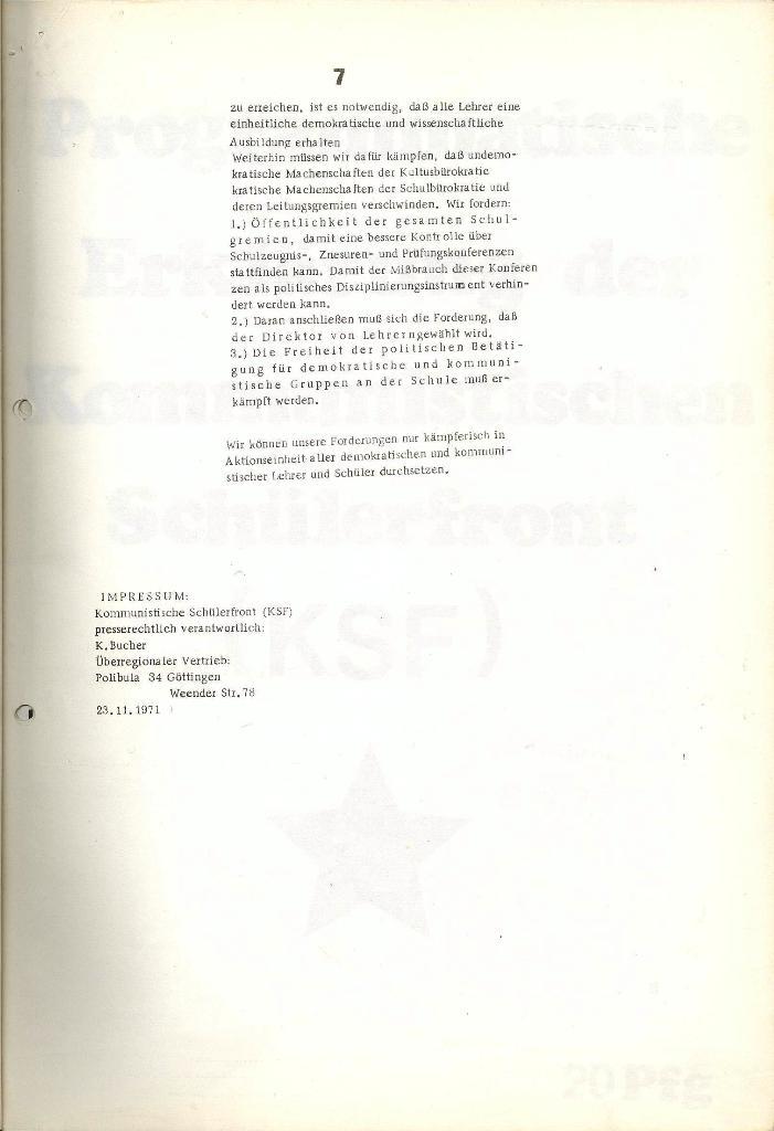 Programmatische Erklärung der KSF,Göttingen, 23.11.1971, Seite 7