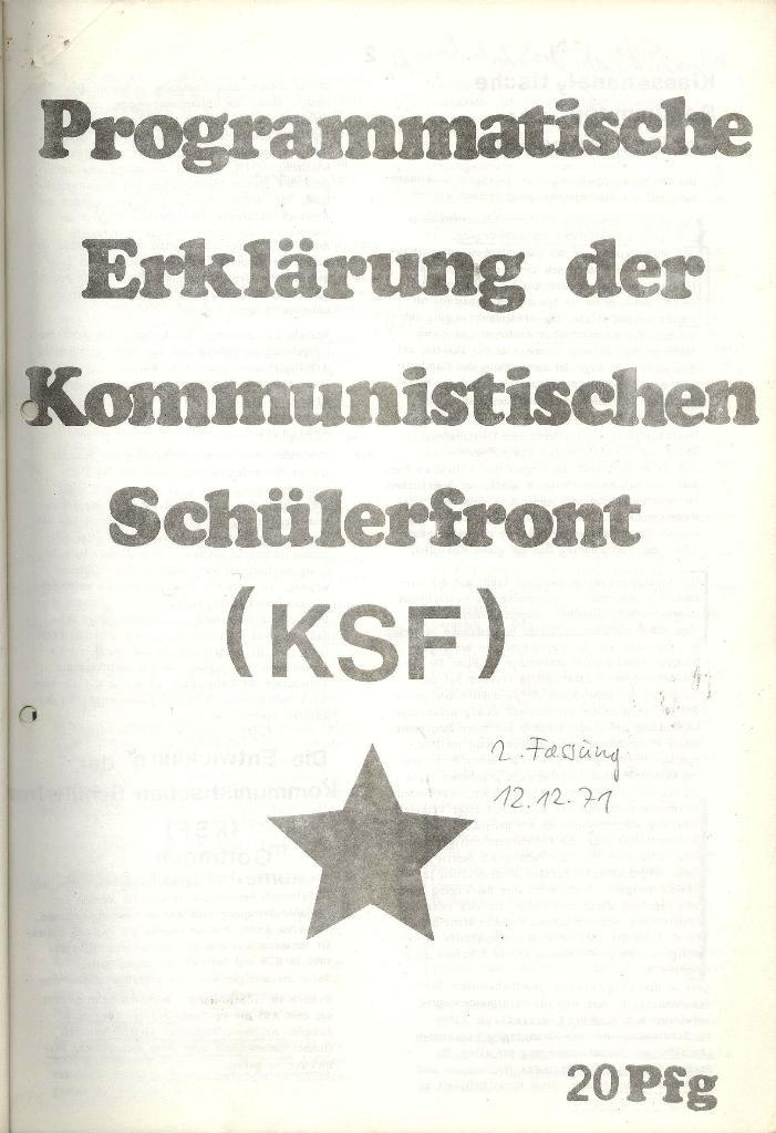 Programmatische Erklärung der KSF,Göttingen, 12.12.1971, Seite 1
