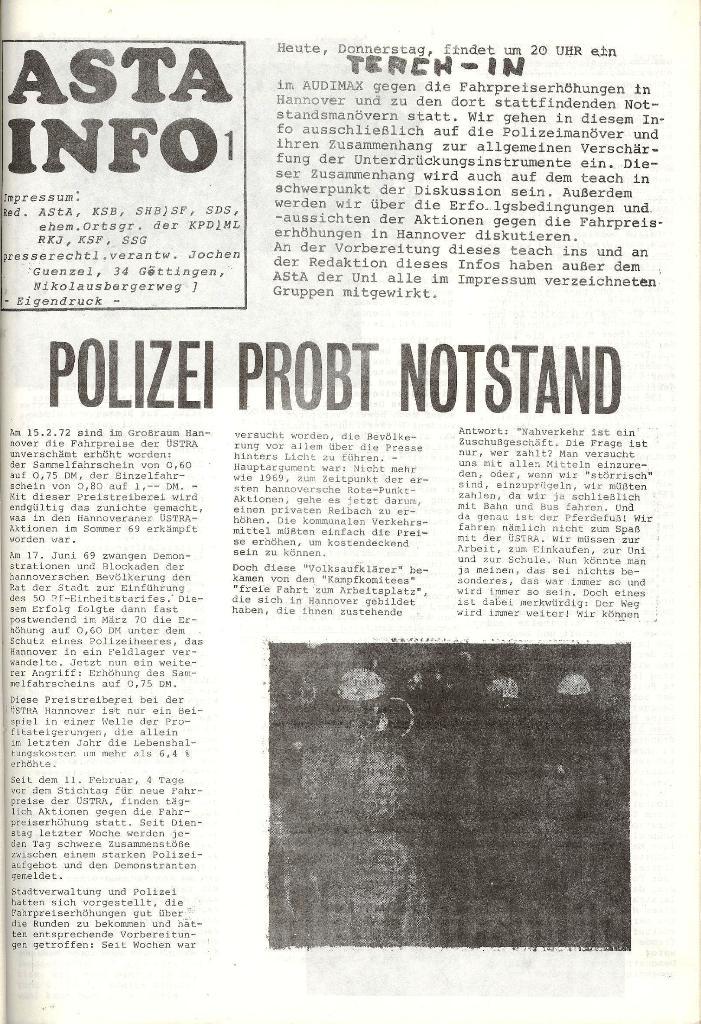 AStA_Info, Nr. 1, Polizei probt Notstand [1972], Seite 1