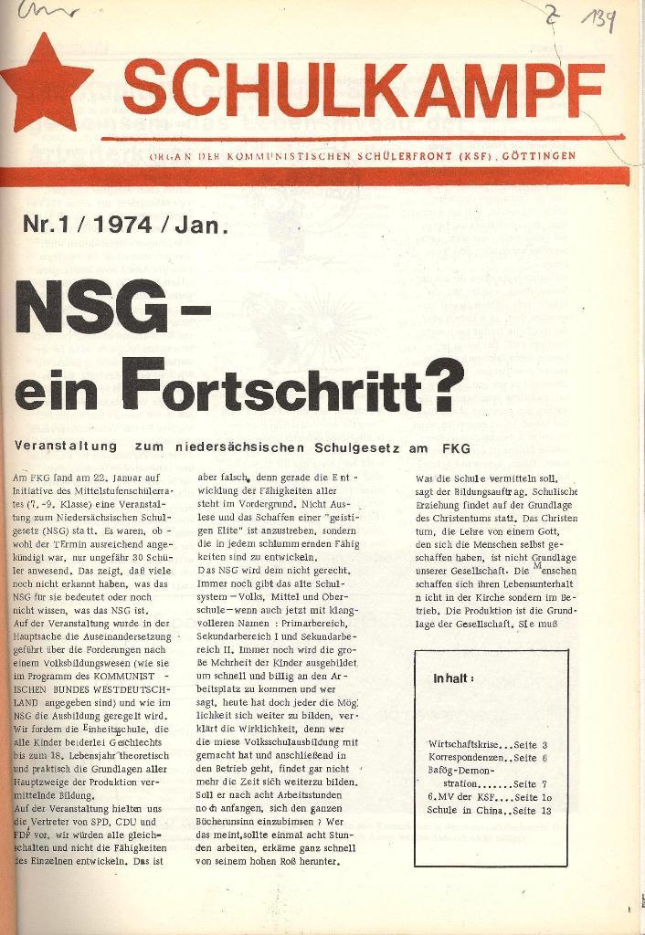Schulkampf _ Organ der KSF, Göttingen, Nr. 1, Jan. 1974, Seite 1