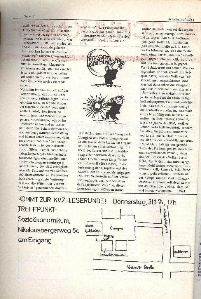Schulkampf _ Organ der KSF, Göttingen, Nr. 1, Jan. 1974, Seite 2