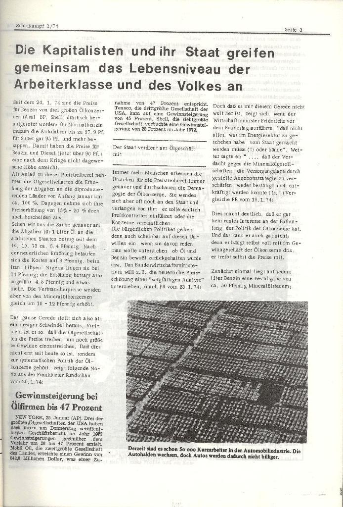 Schulkampf _ Organ der KSF, Göttingen, Nr. 1, Jan. 1974, Seite 3