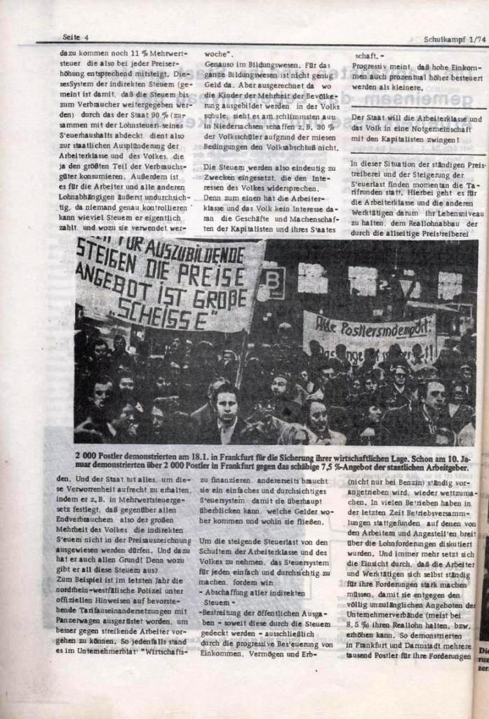 Schulkampf _ Organ der KSF, Göttingen, Nr. 1, Jan. 1974, Seite 4