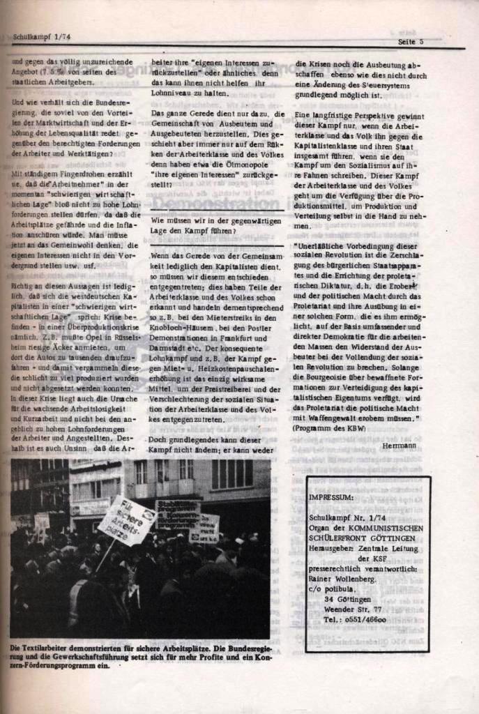 Schulkampf _ Organ der KSF, Göttingen, Nr. 1, Jan. 1974, Seite 5