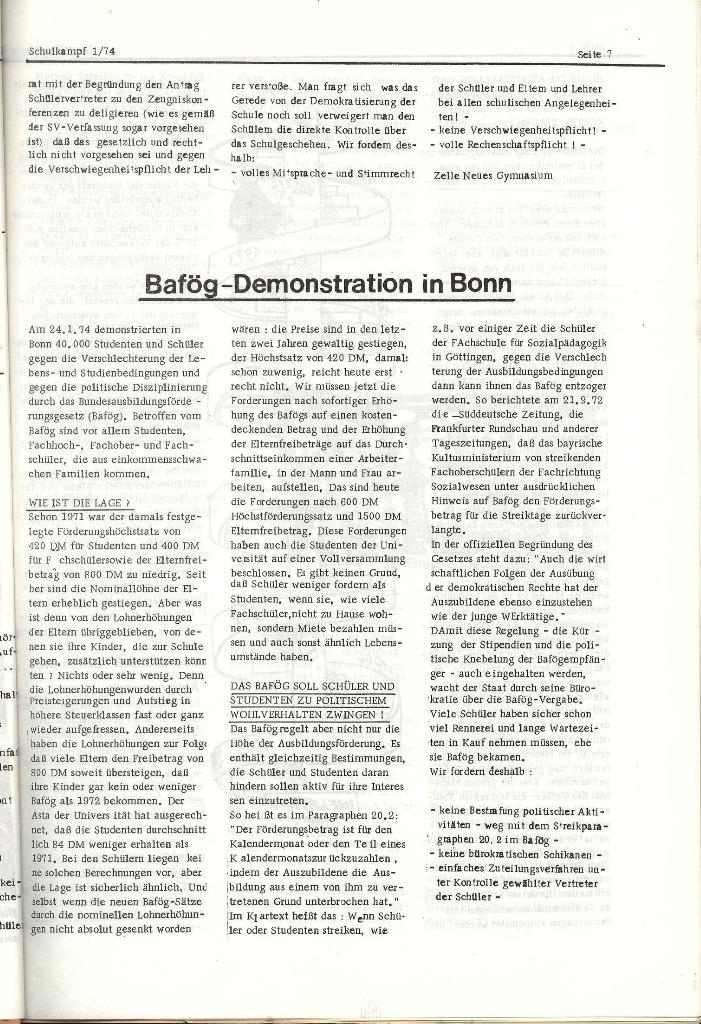 Schulkampf _ Organ der KSF, Göttingen, Nr. 1, Jan. 1974, Seite 7