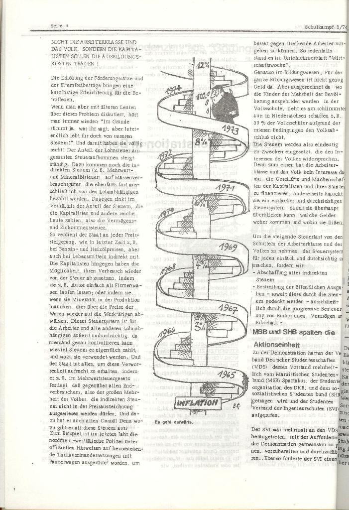 Schulkampf _ Organ der KSF, Göttingen, Nr. 1, Jan. 1974, Seite 8
