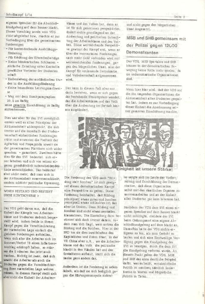 Schulkampf _ Organ der KSF, Göttingen, Nr. 1, Jan. 1974, Seite 9