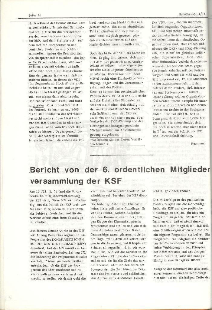 Schulkampf _ Organ der KSF, Göttingen, Nr. 1, Jan. 1974, Seite 10