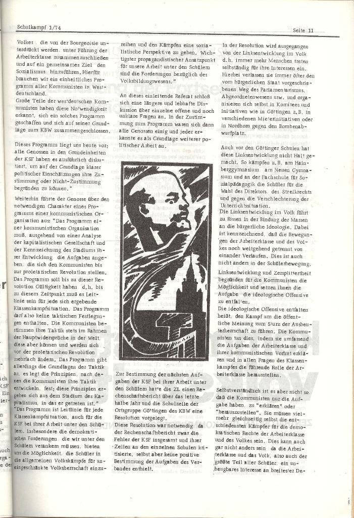 Schulkampf _ Organ der KSF, Göttingen, Nr. 1, Jan. 1974, Seite 11