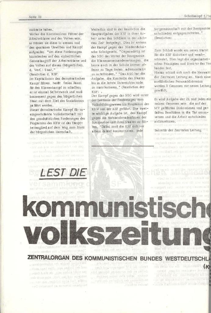 Schulkampf _ Organ der KSF, Göttingen, Nr. 1, Jan. 1974, Seite 12