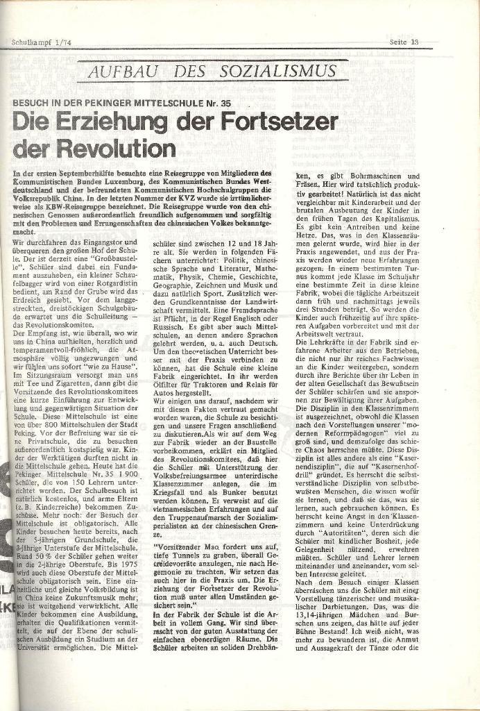 Schulkampf _ Organ der KSF, Göttingen, Nr. 1, Jan. 1974, Seite 13
