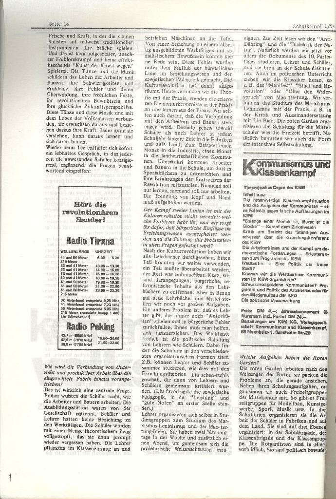Schulkampf _ Organ der KSF, Göttingen, Nr. 1, Jan. 1974, Seite 14