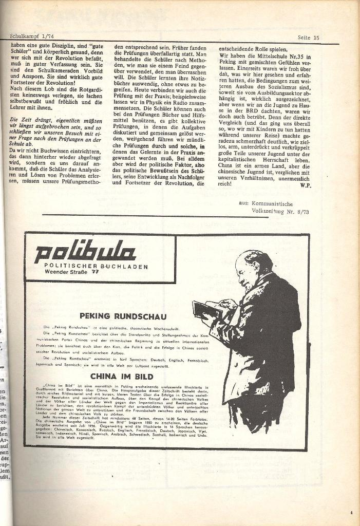 Schulkampf _ Organ der KSF, Göttingen, Nr. 1, Jan. 1974, Seite 15