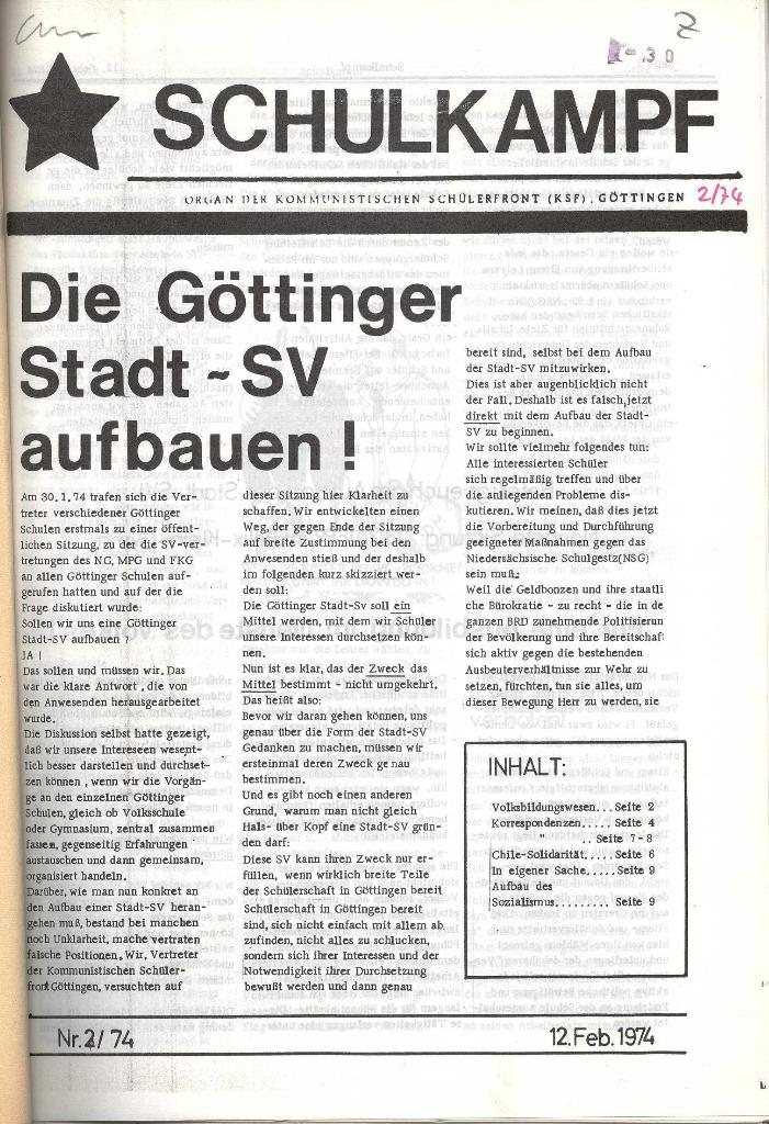 Schulkampf _ Organ der KSF, Göttingen, Nr. 2, 12.2.74, Seite 1