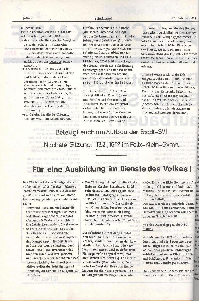 Schulkampf _ Organ der KSF, Göttingen, Nr. 2, 12.2.74, Seite 2