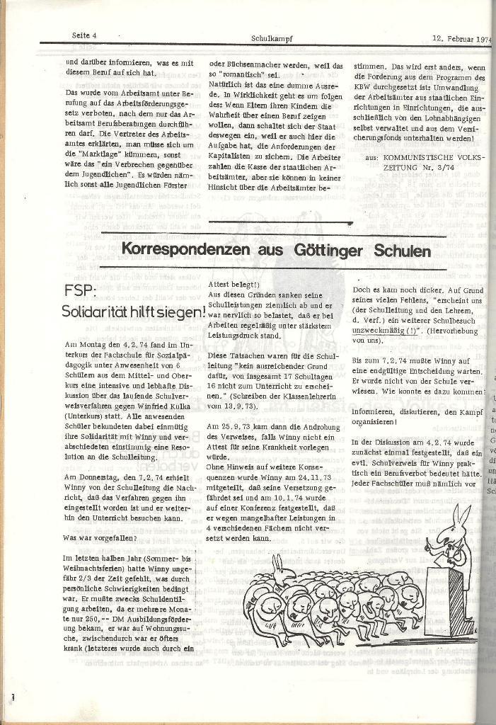 Schulkampf _ Organ der KSF, Göttingen, Nr. 2, 12.2.74, Seite 4