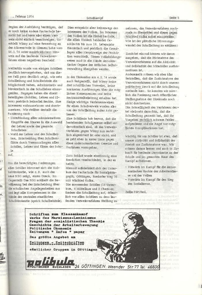 Schulkampf _ Organ der KSF, Göttingen, Nr. 2, 12.2.74, Seite 5