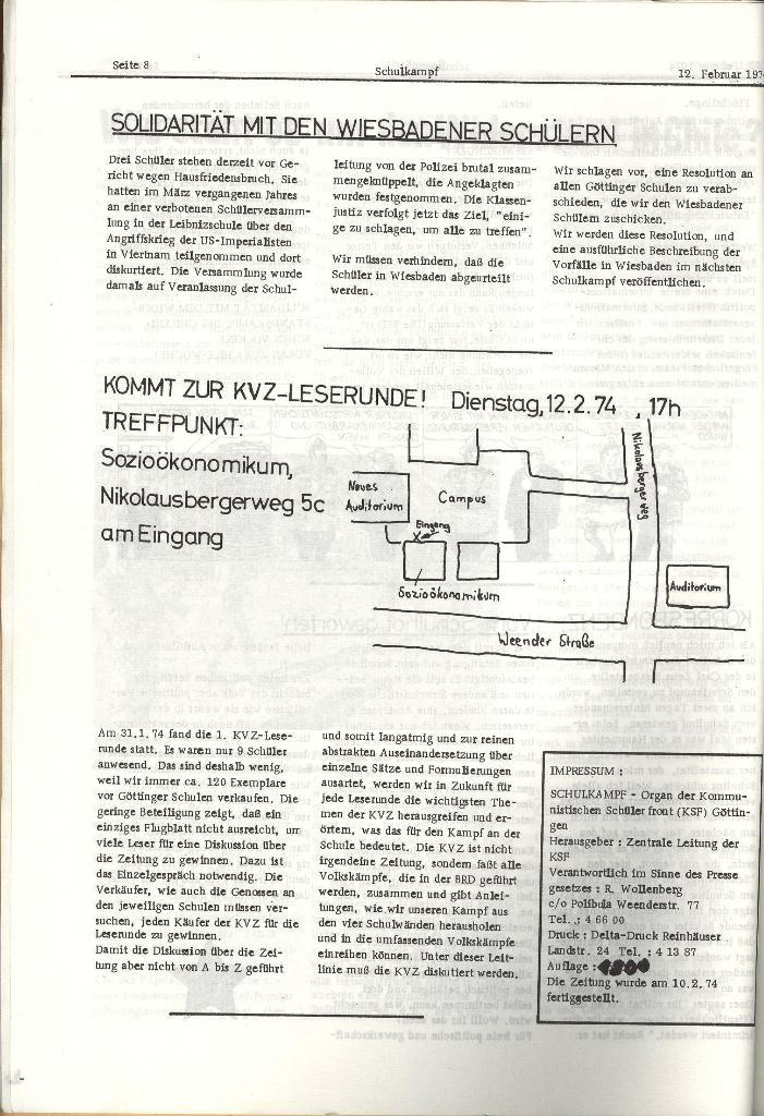 Schulkampf _ Organ der KSF, Göttingen, Nr. 2, 12.2.74, Seite 8