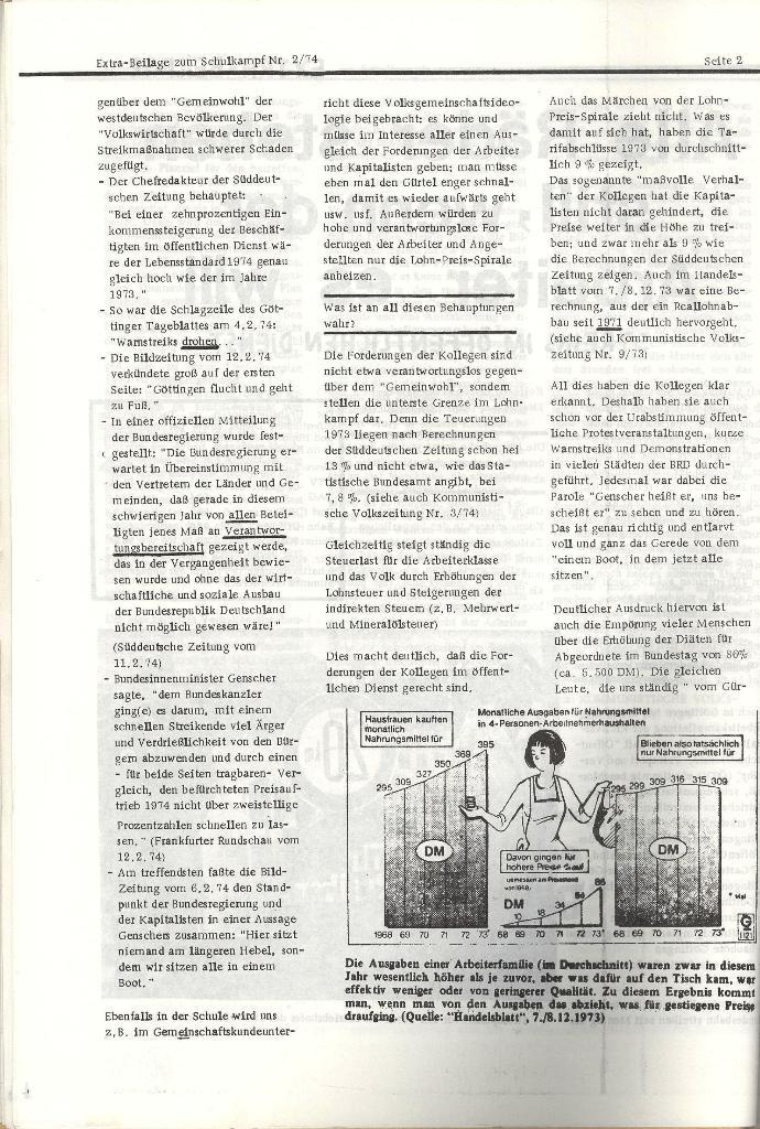 Schulkampf _ Organ der KSF, Göttingen, Nr. 2, 12.2.74, Beilage, Seite 2