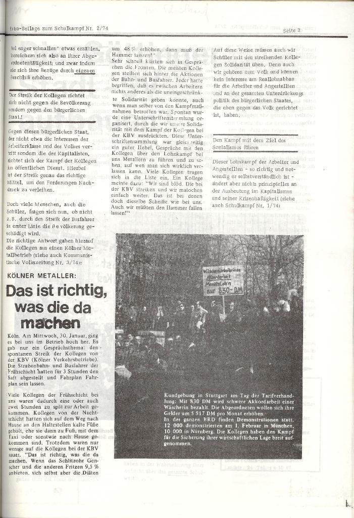 Schulkampf _ Organ der KSF, Göttingen, Nr. 2, 12.2.74, Beilage, Seite 3