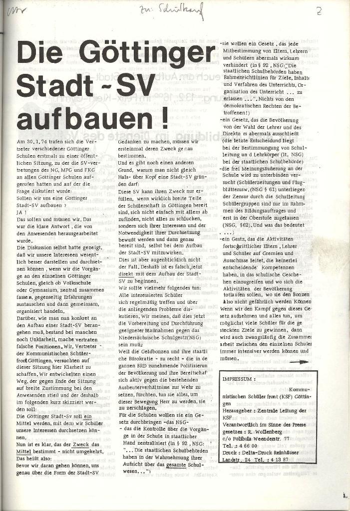 Schulkampf _ Organ der KSF, Göttingen, Nr. 2, 12.2.74, Beilage, Seite 5