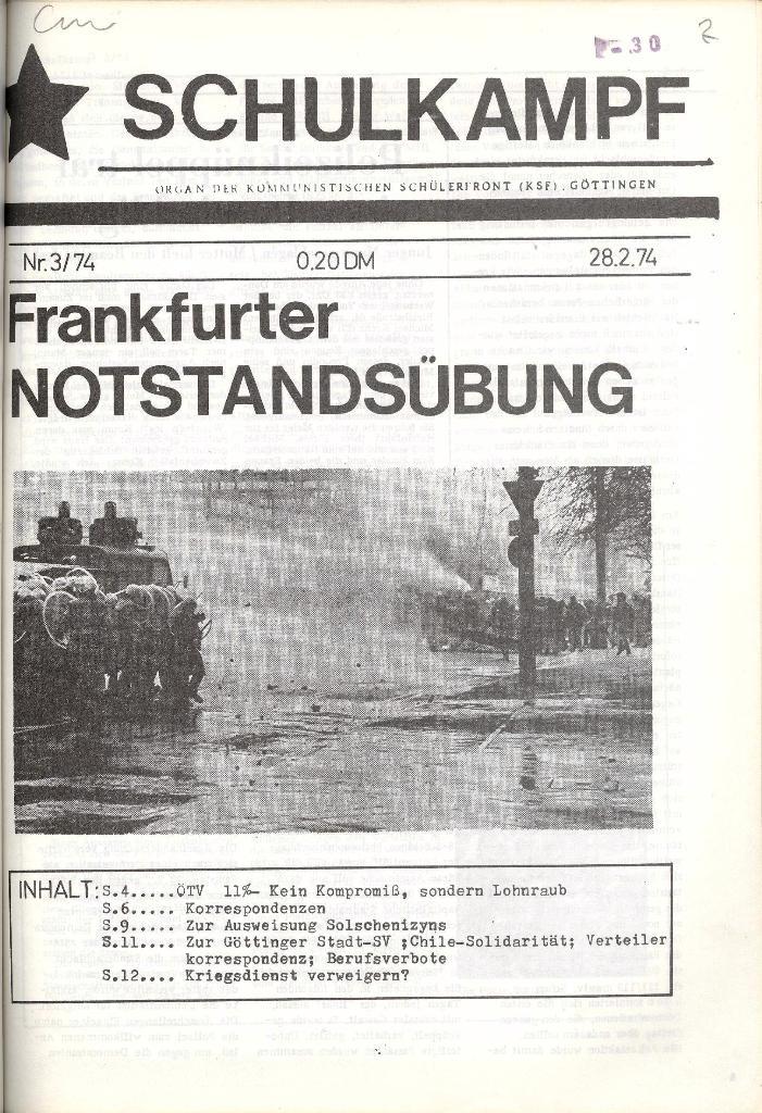 Schulkampf _ Organ der KSF, Göttingen, Nr. 3, 28.2.74, Seite 1